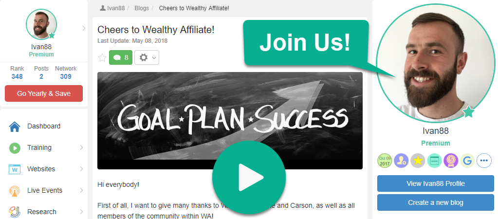 My Wealthy Affiliate Premium Profile