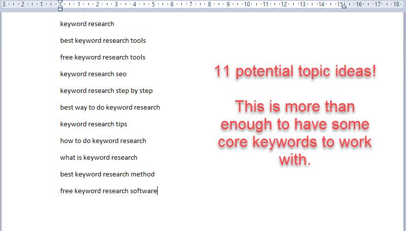 Write Your Keywords Ideas