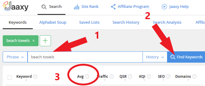 Find Keyword Search Volume With Jaaxy Screen Capture