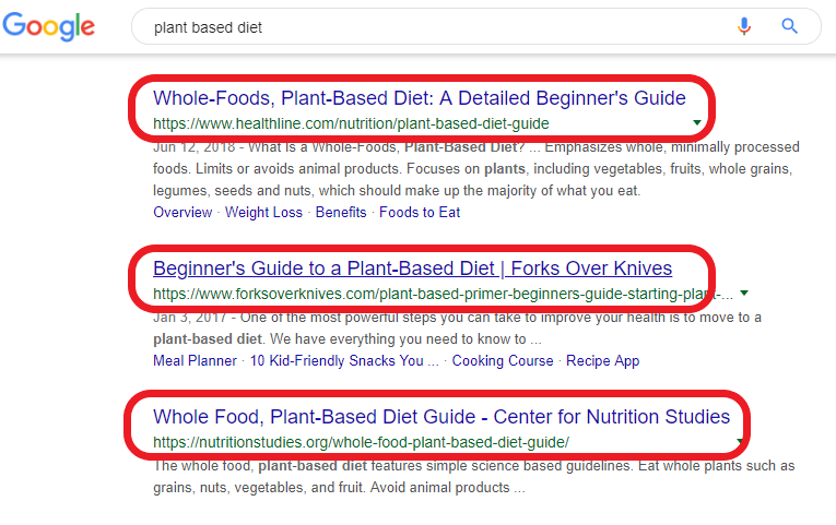 Google Results for Plant-Based Diet
