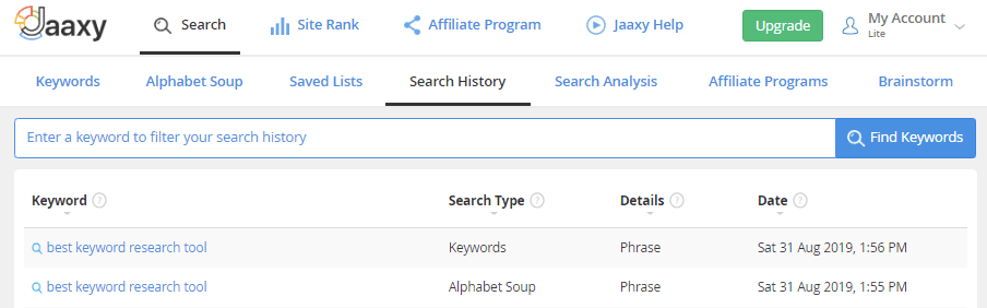 Jaaxy Search History