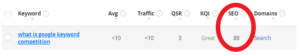 SEO Results in Jaaxy Screen Capture
