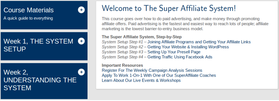 Super Affiliate System Course Screen Capture