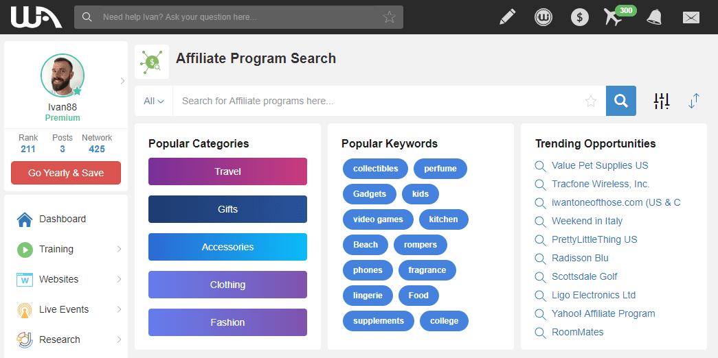 Affiliate Programs Section at Wealthy Affiliate