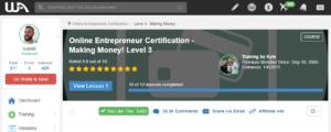 Wealthy Affiliate Online Entrepreneur Certification Level 3