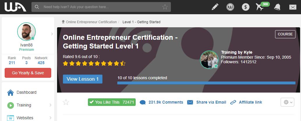 Wealthy Affiliate Online Entrepreneur Certification Level 1