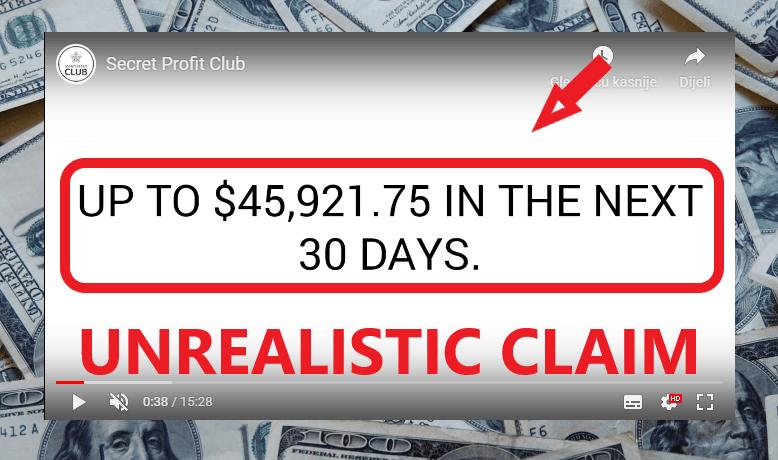 Secret Profit Club Review - Unrealistic Income Claim