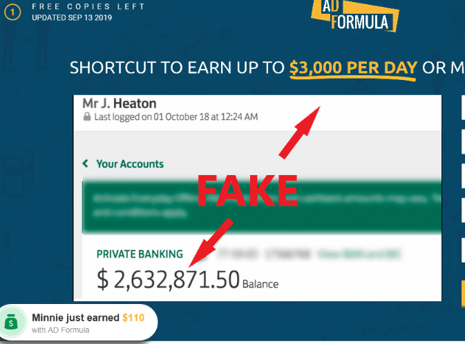 AD Formula Scam Fake Earnings