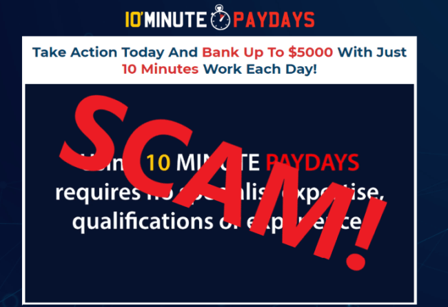 10 Minute Paydays Review - Scam