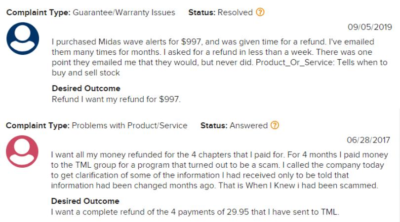 The Midas Legacy Complaints