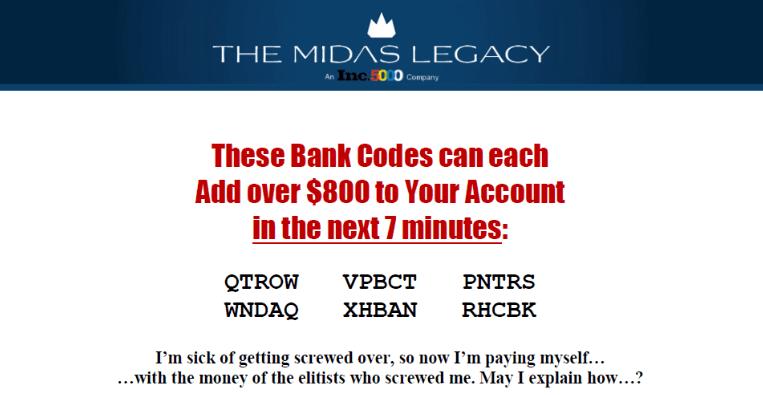 The Midas Legacy Codes