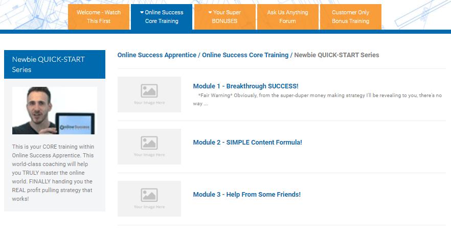 Online Success Apprentice Review - Dashboard