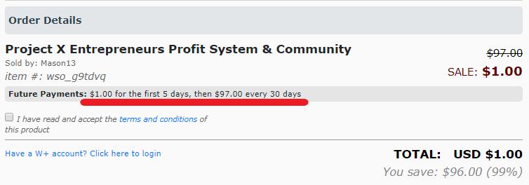 Project X Entrepreneurs Price