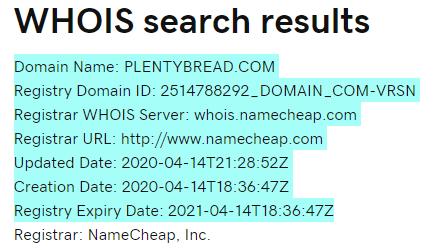 PlentyBread Review Scam - Domain