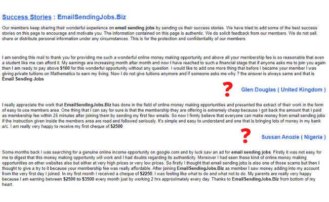 Email Sending Jobs Review - Testimonials