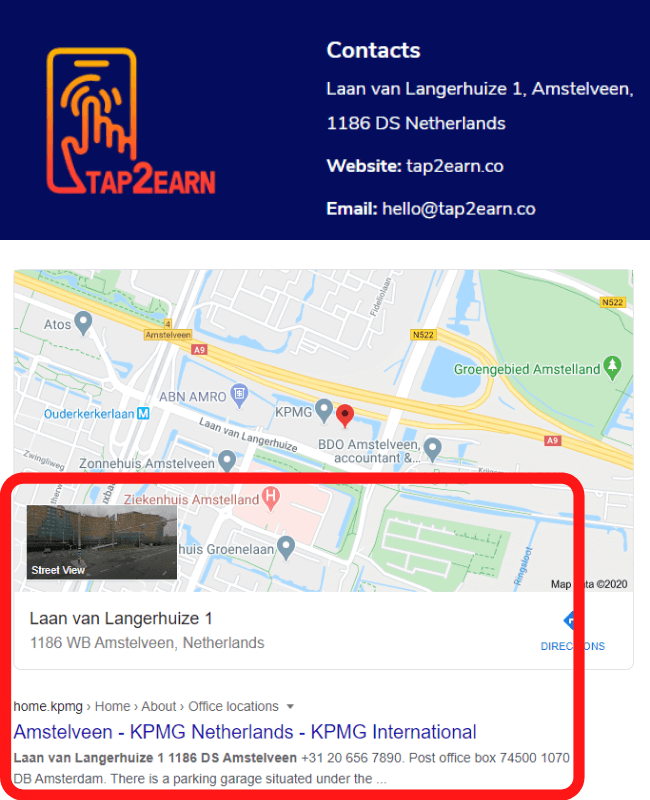 Tap2Earn Review - Fake Address