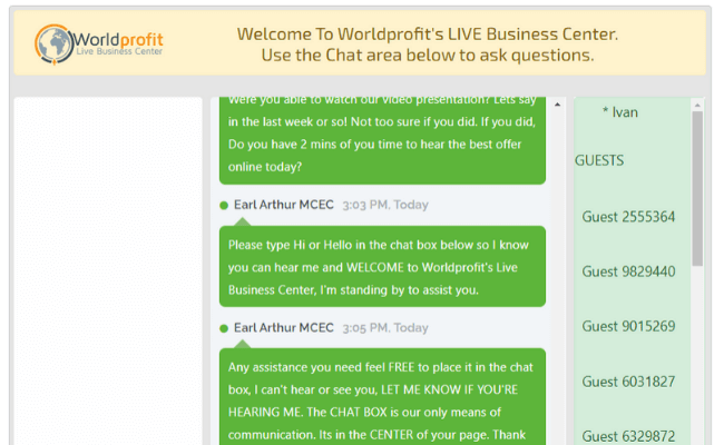 Worldprofit Review - Live Chat