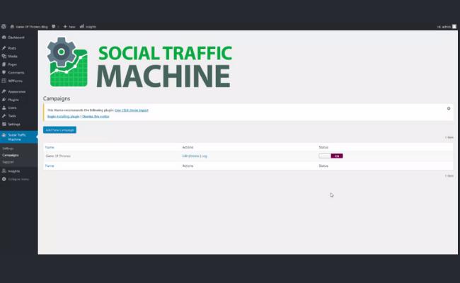 Social Traffic Machine Step 1.
