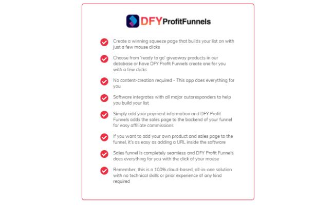 DFY Profit Funnels Features