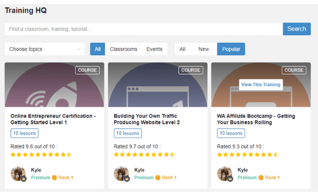 Wealthy Affiliate Review - Classrooms