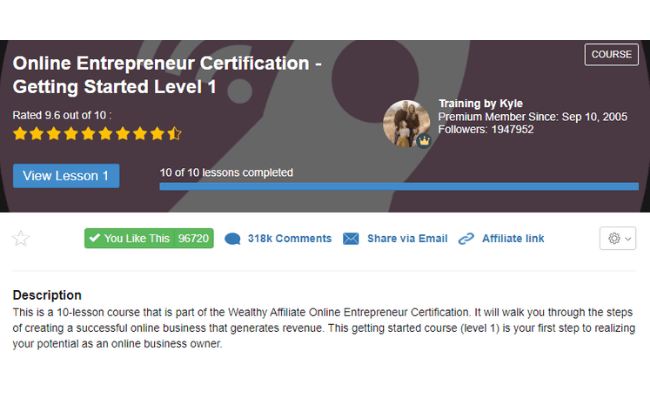 Wealthy Affiliate Review - Level 1