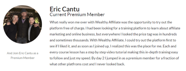 Wealthy Affiliate Review - Testimonial 3