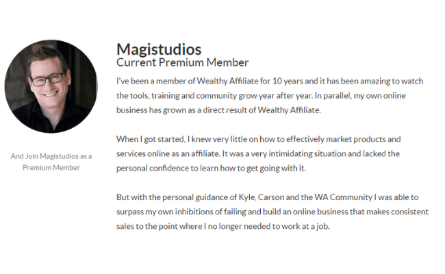Wealthy Affiliate Review - Testimonial 2