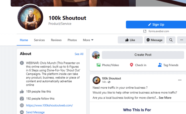 100K Shout Out Facebook Page