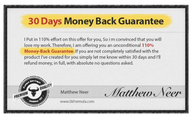 5K Formula Money-Back Guarantee