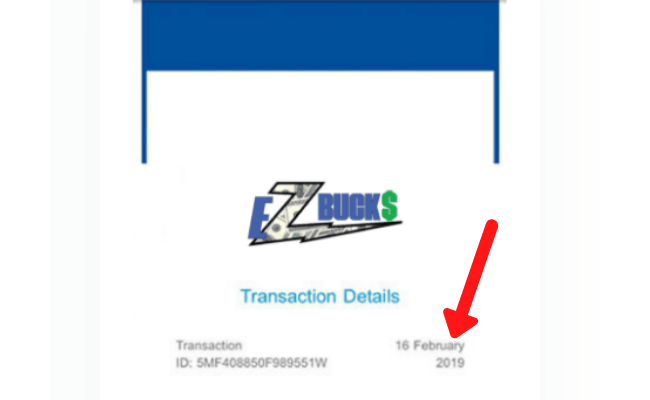EZ Bucks Review Scam Fake Payment 1
