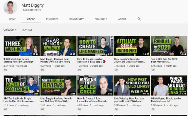 Matt Diggity YouTube Channel