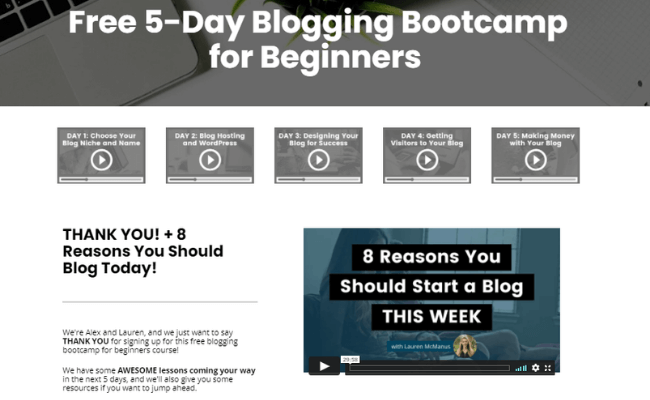 Create And Go 5-Day Blogging Course