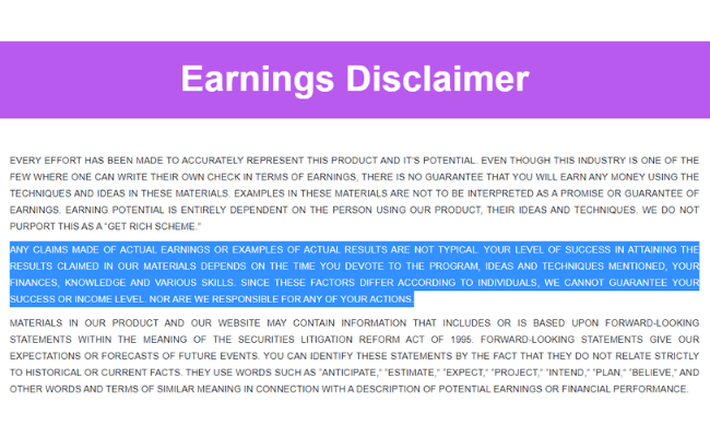 Write App Reviews Review - Earnings Disclaimer