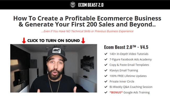 Ecom Beast 2.0 Review Home Page