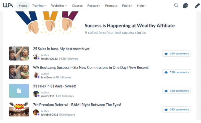 Wealthy Affiliate Review - Success